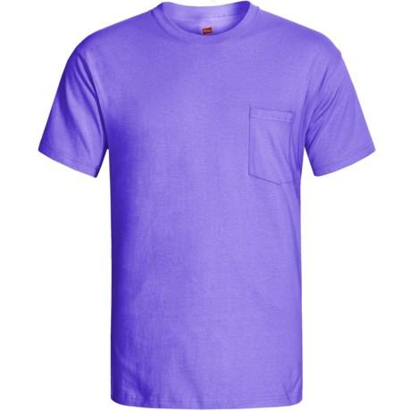 Hanes Open End Pocket T-Shirt - Cotton, Short Sleeve (For Men and Women) in Light Purple, Violet, Lavender