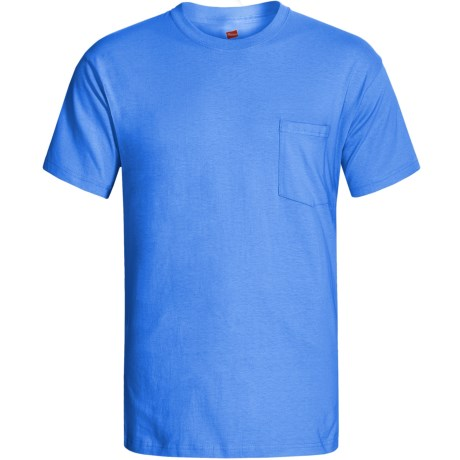 Hanes Open End Pocket T-Shirt - Cotton, Short Sleeve (For Men and Women) in Medium Blue