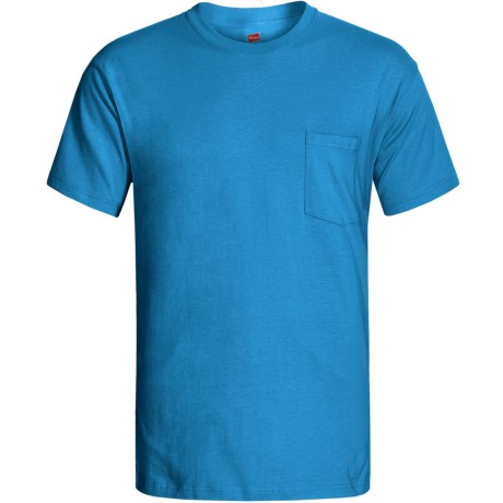 Hanes Open End Pocket T-Shirt - Cotton, Short Sleeve (For Men and Women) in Turquoise