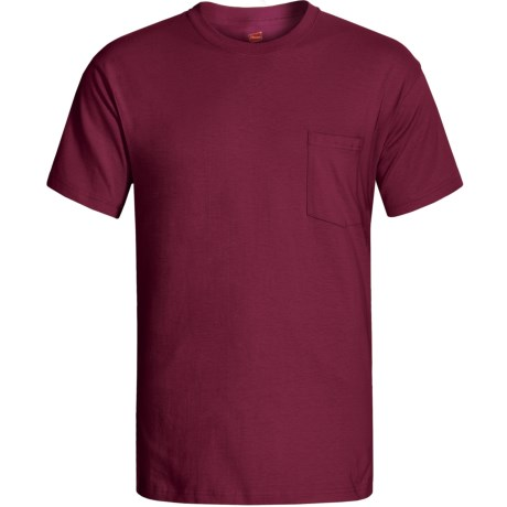 Hanes Open End Pocket T-Shirt - Cotton, Short Sleeve (For Men and Women) in Wine