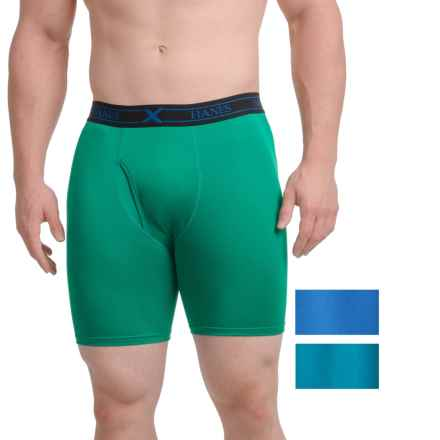 Hanes Platinum X-Temp® Boxer Briefs - Longer Leg, 3-Pack (For Men) in Green/Teal/Blue - Closeouts
