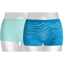 Hanes Premium Boy Short Underwear - 2-Pack, Tagless® (For Women) in Blue Stripe/Aqua - Closeouts
