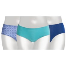 Hanes Premium Brief Underwear - 3-Pack, Low Rise (For Women) in Aqua/Royal - Closeouts