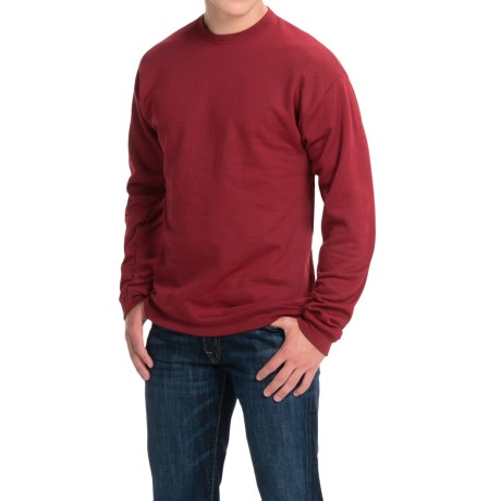 Hanes Premium EcoSmart Sweatshirt - Cotton Fleece (For Men and Women) in Red Heather