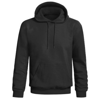 Hanes Printpro Cotton-Rich Fleece Pullover Hoodie Sweatshirt (For Men and Women) in Black