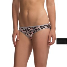 Hanes Satin Stretch Bikini Panties - 2-Pack, Bikini Briefs (For Women) in Black Solid/Animal Print - Closeouts