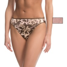 Hanes Satin Stretch Hi-Cut Panties - 2-Pack, Briefs (For Women) in Pink Solid/Chocolate Scroll Leaf Pattern - Closeouts