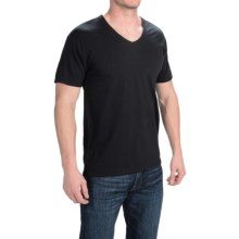 Hanes Solid V-Neck T-Shirt - Stretch Cotton, Short Sleeve (For Men and Women) in Black - 2nds