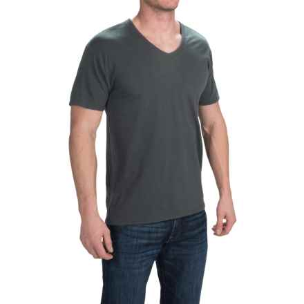 Hanes Solid V-Neck T-Shirt - Stretch Cotton, Short Sleeve (For Men and Women) in Dark Grey - 2nds