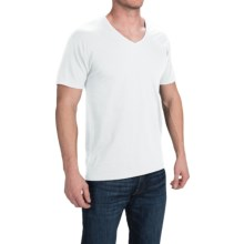 Hanes Solid V-Neck T-Shirt - Stretch Cotton, Short Sleeve (For Men and Women) in White - 2nds
