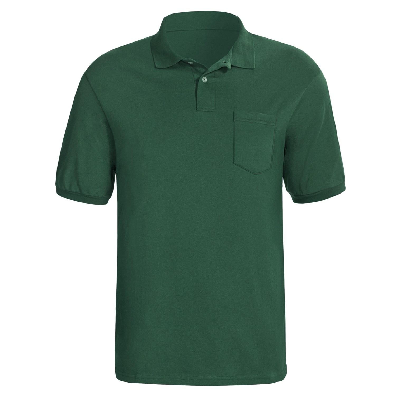 Hanes stedman blended jersey polo shirt short sleeve for Dark green mens polo shirt