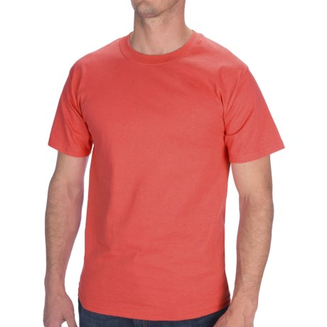Hanes Tagless Cotton T-Shirt - Short Sleeve (For Men and Women) in Dark Coral