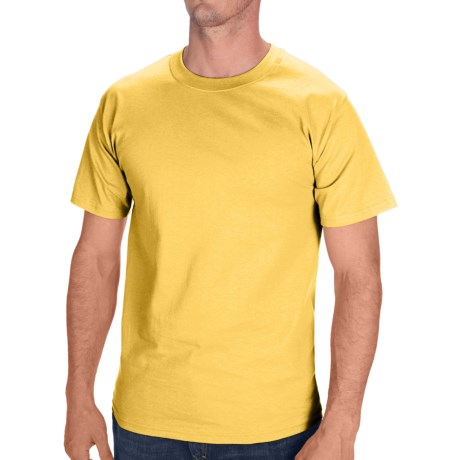 Hanes Tagless Cotton T-Shirt - Short Sleeve (For Men and Women) in Yellow