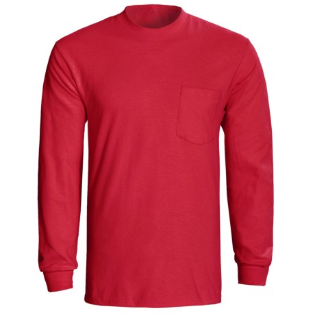 Hanes Tagless Pocket T-Shirt - Long Sleeve (For Men and Women) in Red