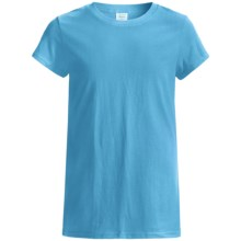 Hanes Tearaway Label T-Shirt - 5.5 oz. Cotton Jersey, Short Sleeve (For Girls) in Turquoise - 2nds