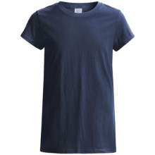 Hanes Tearaway Label T-Shirt - 5.5 oz. Cotton Jersey, Short Sleeve (For Little and Big Girls) in Navy - 2nds