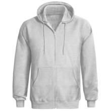 Hanes Ultimate Cotton Hoodie Sweatshirt - Full Zip (For Men and Women) in Light Grey Heather - 2nds