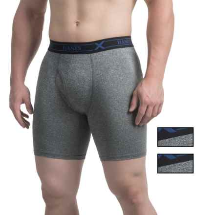 Hanes Ultimate X-Temp® Boxer Briefs - Longer Leg, 3-Pack (For Men) in Black Heather - Closeouts