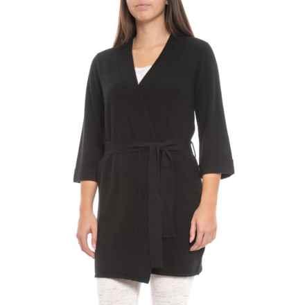 Hannah Rose 100% Cashmere Kimono Robe (For Women) in Ebony - Closeouts