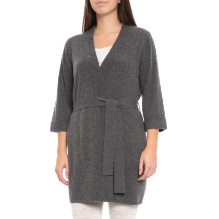 Hannah Rose 100% Cashmere Kimono Robe (For Women) in Graphite - Closeouts b6fb66804