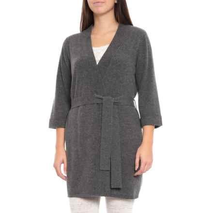 Hannah Rose 100% Cashmere Kimono Robe (For Women) in Graphite - Closeouts