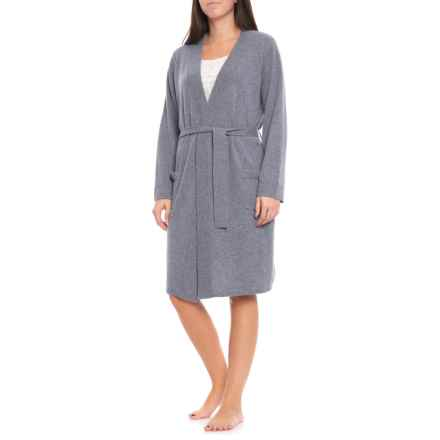 Hannah Rose 100% Cashmere Spa Robe - Long Sleeve (For Women) in Bluestone - Closeouts