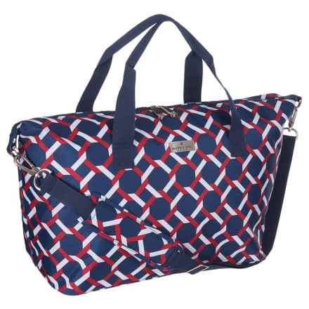 Happy Chic by Jonathan Adler Weekender Bag in Lattice Red/Navy - Closeouts