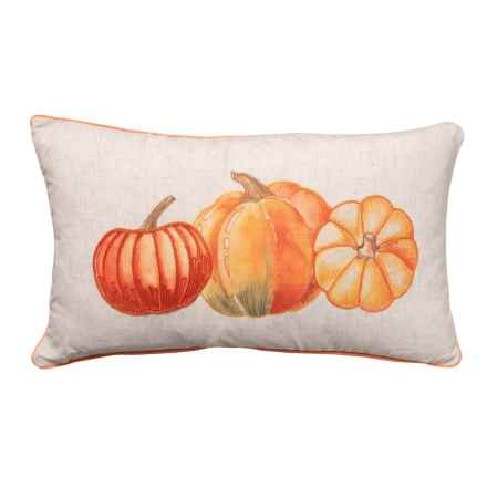 "Happy Harvest Home Harvest Throw Pillow - 14x24"", Feathers in Neutral - Closeouts"