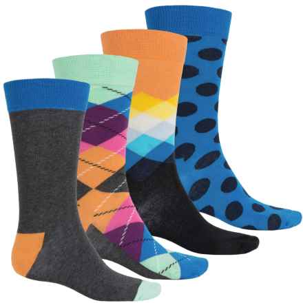 Happy Socks Combed Cotton Socks - 4-Pack, Crew (For Men) in Blue Combo - Closeouts