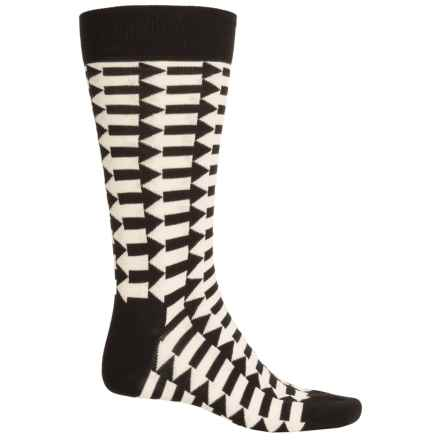 Happy Socks Combed Cotton Socks - Crew (For Men) in Black/White - Closeouts