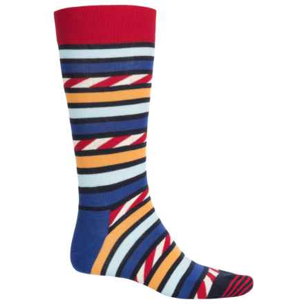 Happy Socks Combed Cotton Socks - Crew (For Men) in Blue/Red/White - Closeouts