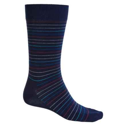 Happy Socks Combed Cotton Socks - Crew (For Men) in Navy/Multi Stripe - Closeouts
