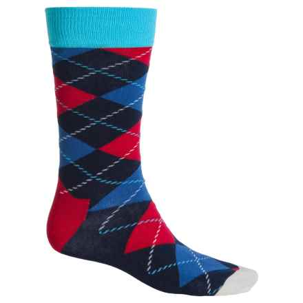 Happy Socks Combed Cotton Socks - Crew (For Men) in Navy/Red Argyle - Closeouts