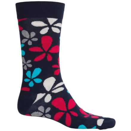 Happy Socks Combed Cotton Socks - Crew (For Men) in Navy/Red/White Flowers - Closeouts