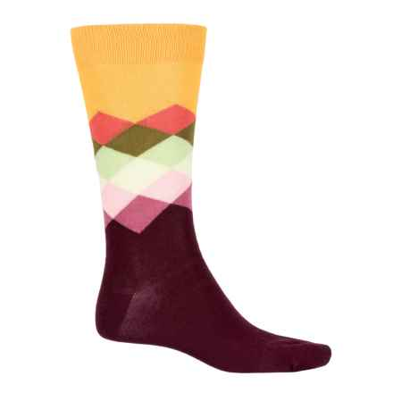 Happy Socks Faded Diamond Socks - Crew (For Men and Women) in Burgundy - Closeouts