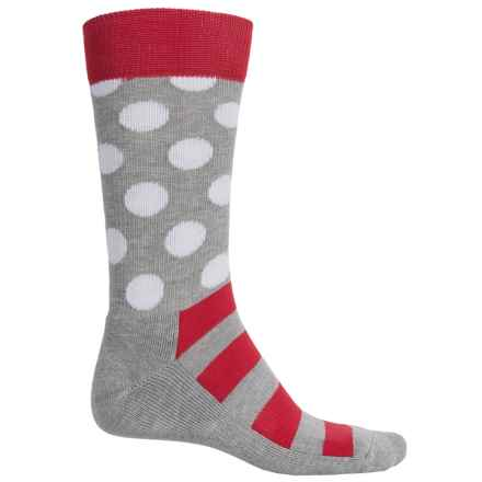 Happy Socks HS Combed Cotton Terry Socks - Crew (For Men) in Grey/Red - Closeouts