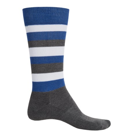 Happy Socks HS Half Stripe Terry Socks - Crew (For Men) in Grey/Blue