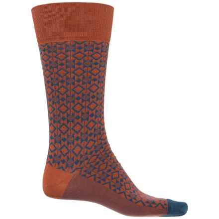 Happy Socks Mercerized Cotton Socks - Crew (For Men) in Blue/Orange - Closeouts