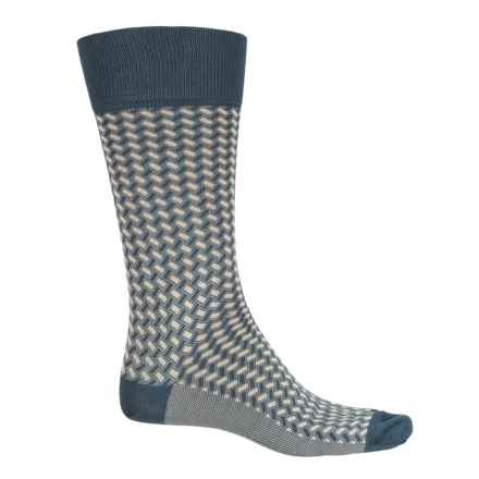 Happy Socks Mercerized Cotton Socks - Crew (For Men) in Medium Blue - Closeouts