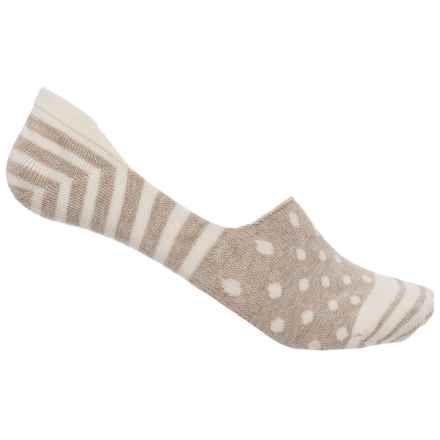 Happy Socks Stripe and Dot Combed Cotton Socks - Below the Ankle (For Women) in Light Beige - Closeouts