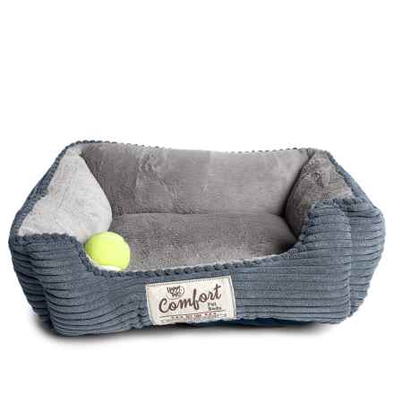 """Happy Tails Corduroy Cuddler Dog Bed - 21x17"""" in Blue - Closeouts"""