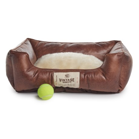 """Happy Tails Faux-Leather Orthopedic Memory-Foam Cuddler Dog Bed - 24x20"""" in Chocolate"""