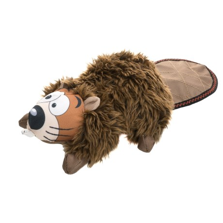 Happy Tails Loonies Furry Beaver Dog Toy - Squeaker