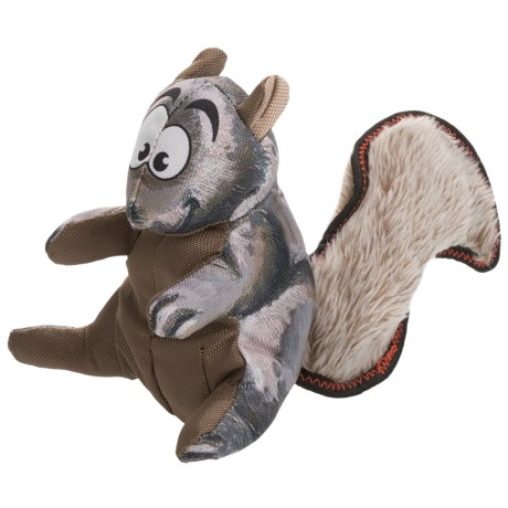 Happy Tails Loonies Furry Tail Squirrel Dog Toy - Squeaker in Brown