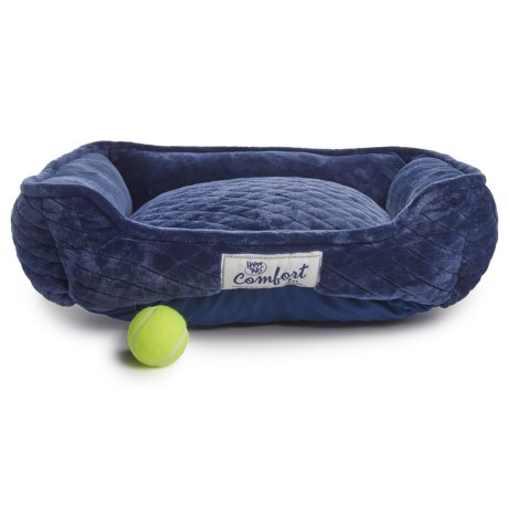 """Happy Tails Quilted Cuddler Velour Dog Bed - 24x20"""" in Royal"""