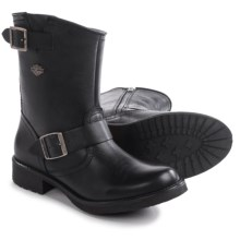 "Harley-Davidson Halsey Harness Motorcycle Boots - Round Toe, 9"" (For Women) in Black - Closeouts"