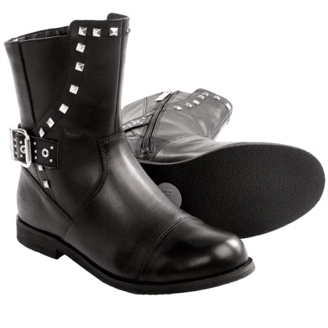 Womens Wide Leather Motorcycle Boots 22