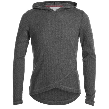 Harmony and Balance Brushed Hacci Hoodie (For Big Girls) in Charcoal Heather