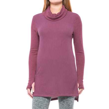 Harmony and Balance Brushed Heather Waffle Tunic Turtleneck - Long Sleeve (For Women) in Vintage Grape Heather - Closeouts