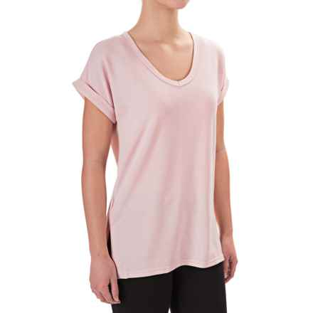 Harmony and Balance Brushed V-Neck Shirt - Short Sleeve (For Women) in Ballet Slipper Heather - Closeouts